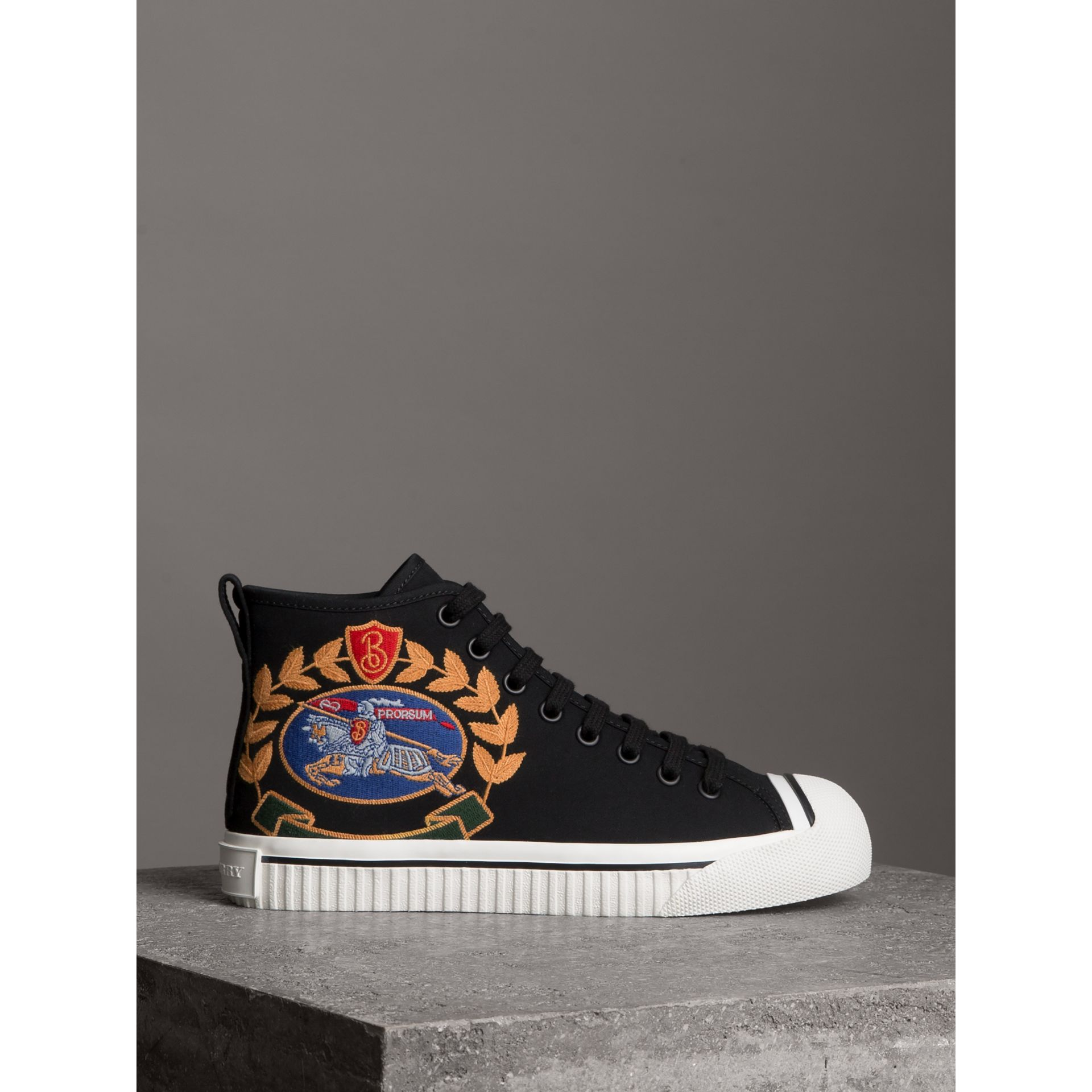 Embroidered Archive Logo High-top Sneakers in Black - Women | Burberry - gallery image 3
