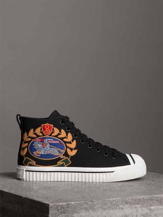 Embroidered Archive Logo High-top Sneakers in Black