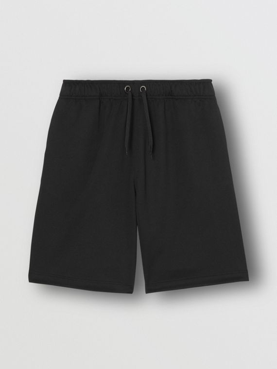 Icon Stripe Detail Cotton Blend Shorts in Black