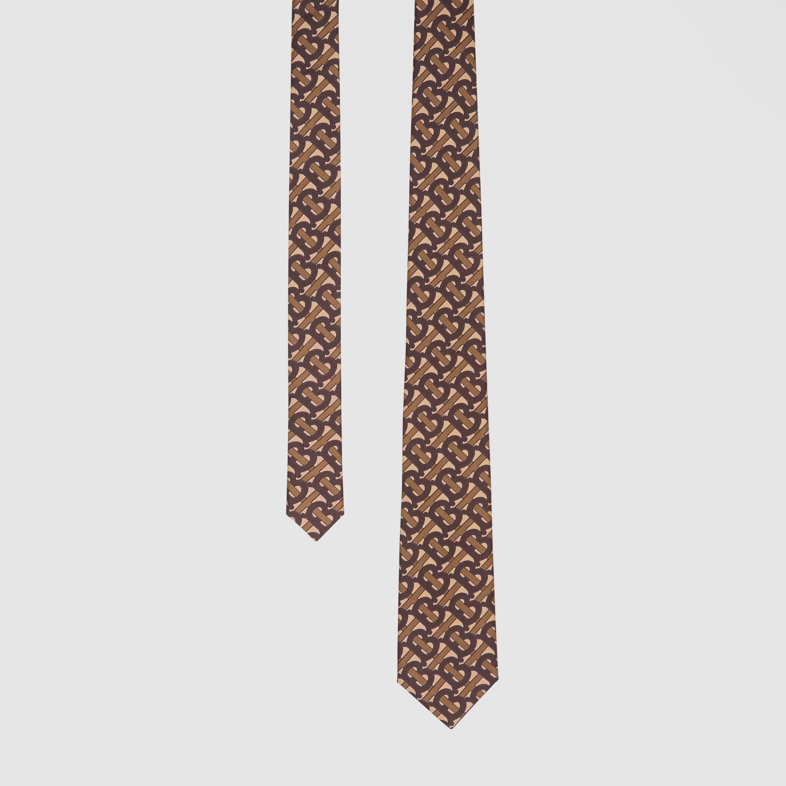 Classic Cut Monogram Print Silk Tie in Bridle Brown - Men | Burberry - 1