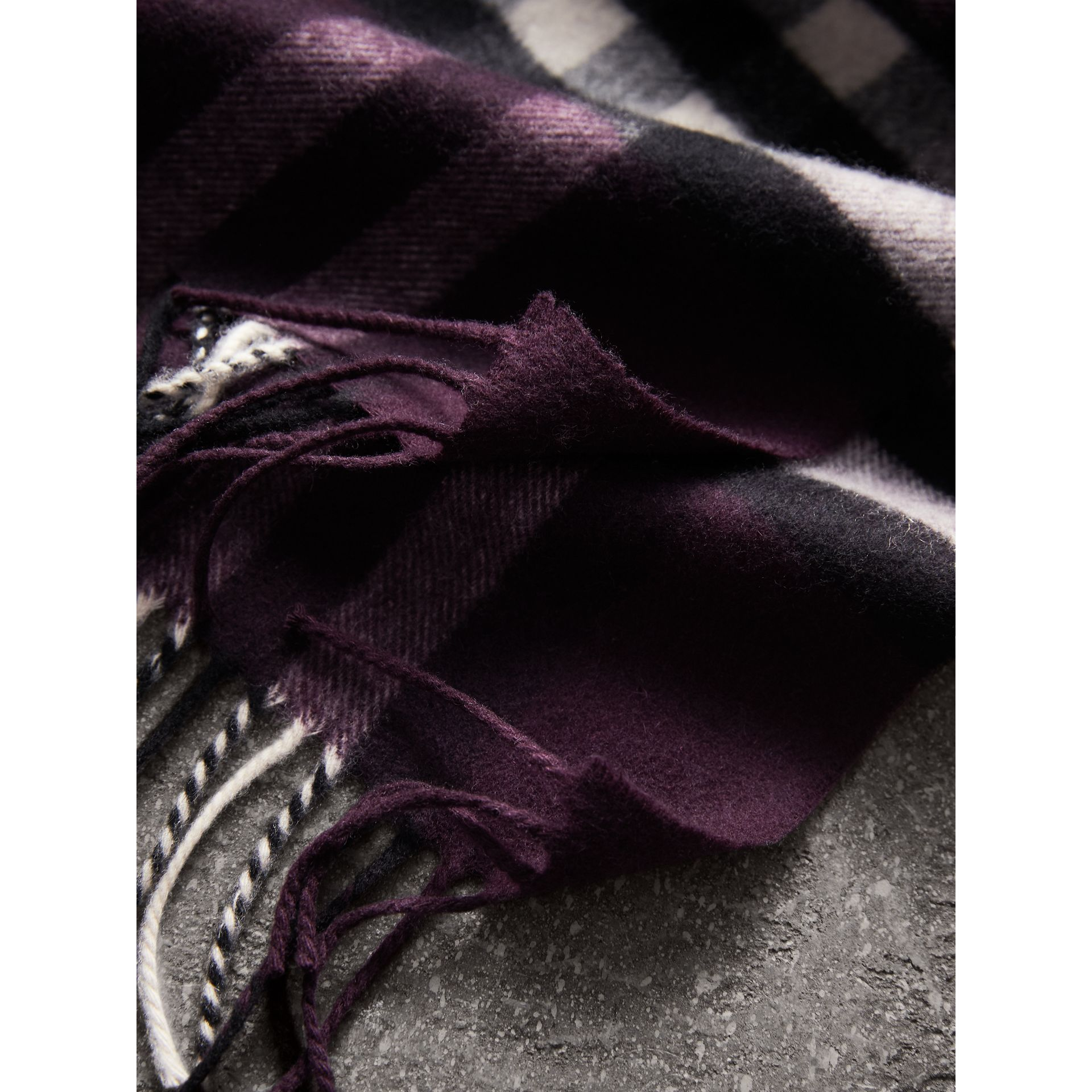 The Classic Check Cashmere Scarf in Aubergine | Burberry - gallery image 5