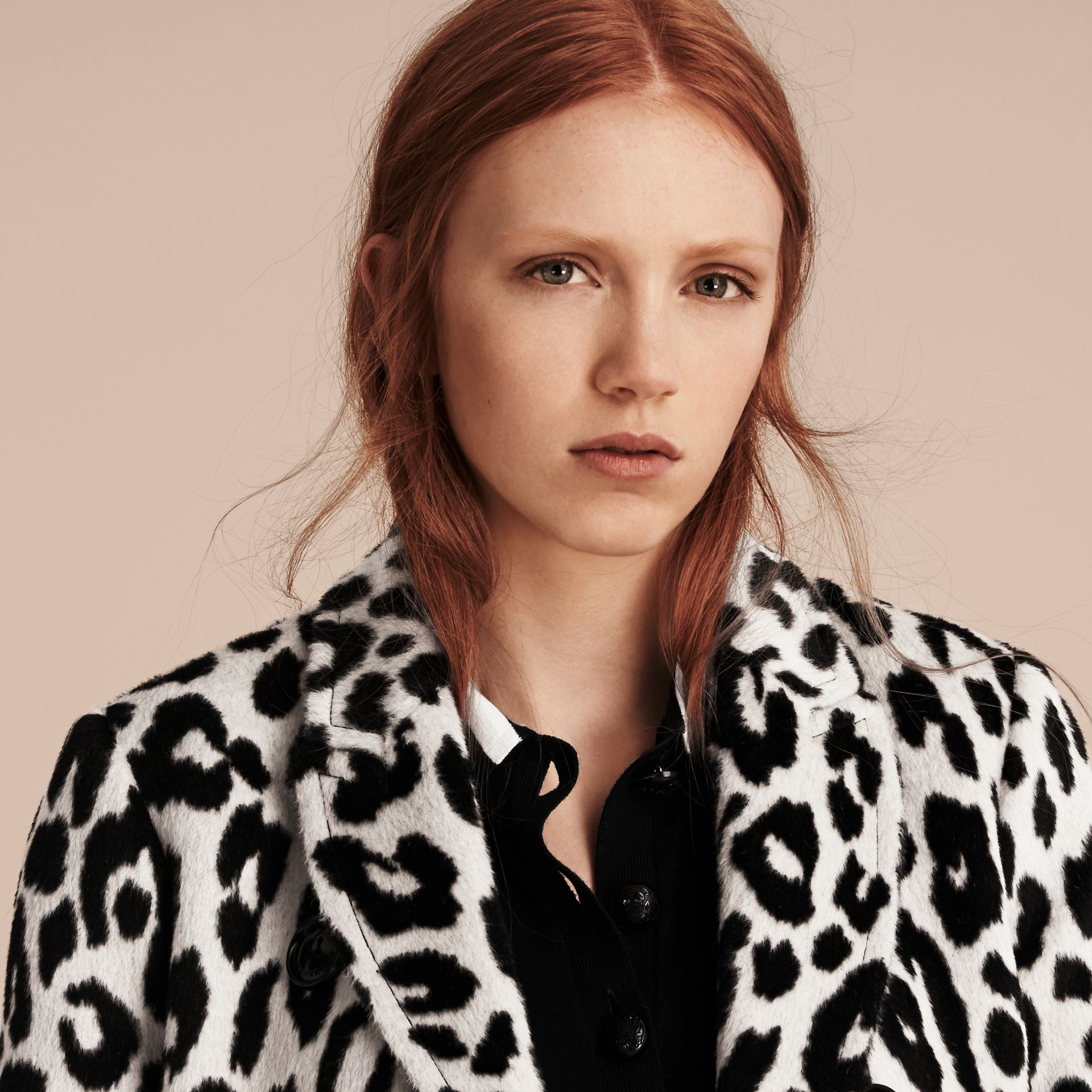 Black/white Leopard Jacquard Lama Wool Coat - gallery image 5