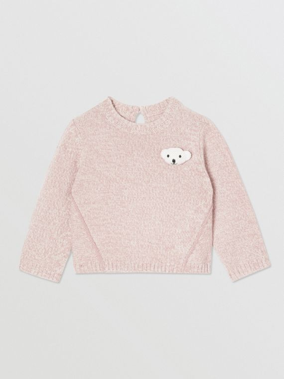 Thomas Bear Detail Wool Cashmere Sweater in Light Pink