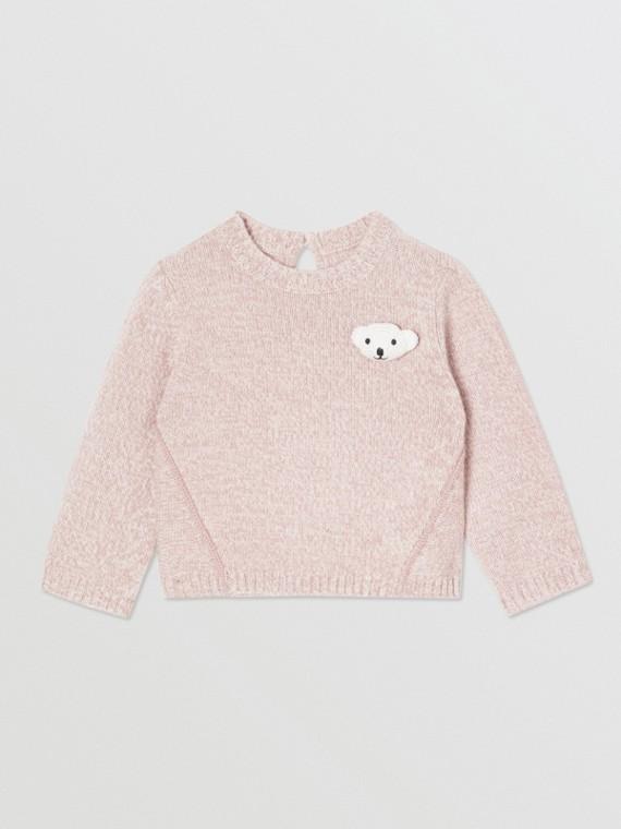 Thomas 泰迪熊細節羊毛喀什米爾運動衫 (淺粉紅)