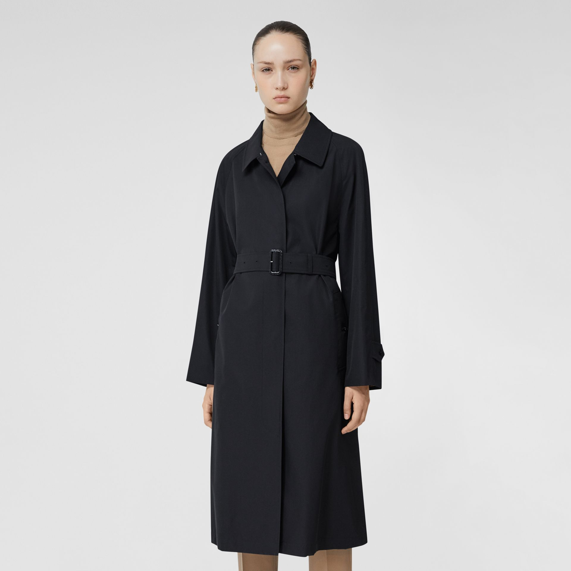 Tropical Gabardine Belted Car Coat in Midnight - Women | Burberry - gallery image 6
