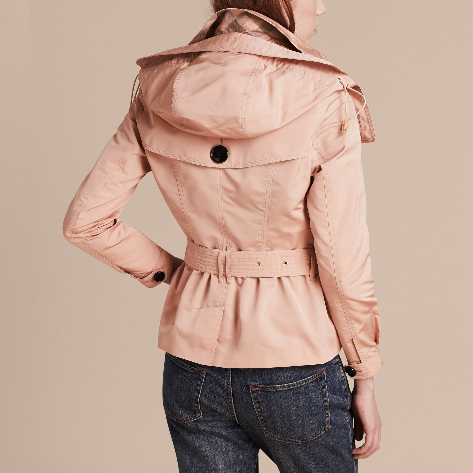 Chalk pink Showerproof Taffeta Trench Jacket with Detachable Hood Chalk Pink - gallery image 3