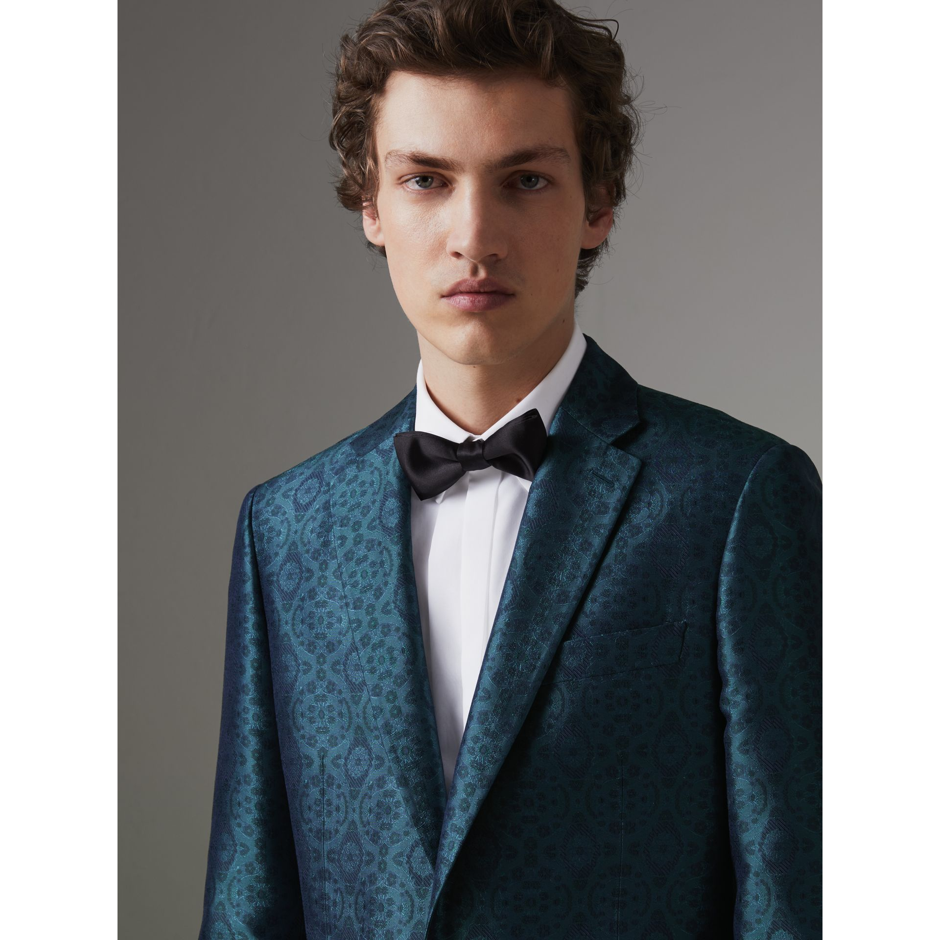 Soho Fit Geometric Silk Jacquard Suit in Dark Teal - Men | Burberry - gallery image 1