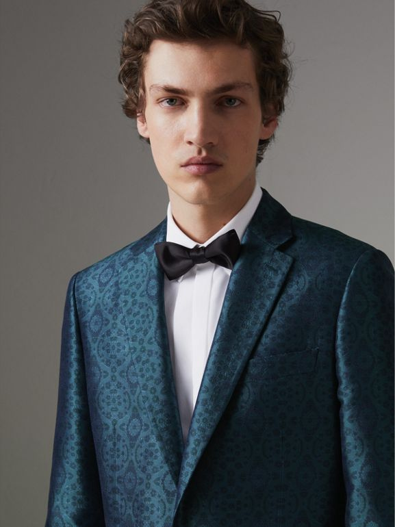 Soho Fit Geometric Silk Jacquard Suit in Dark Teal - Men | Burberry Canada - cell image 1