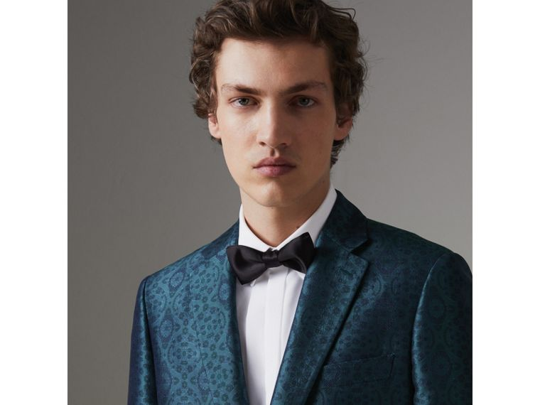 Soho Fit Geometric Silk Jacquard Suit in Dark Teal - Men | Burberry - cell image 1
