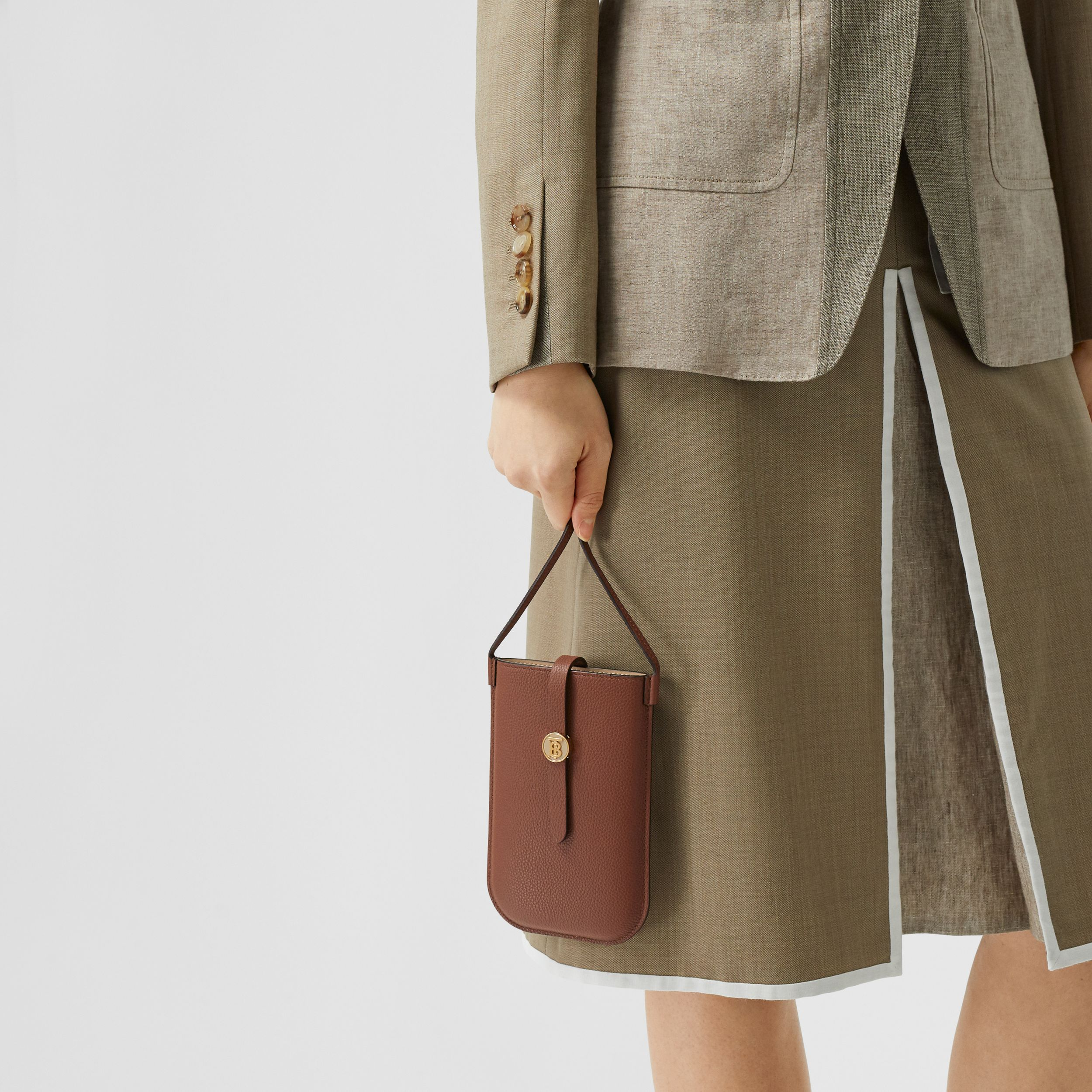 Leather Phone Case with Strap in Tan | Burberry - 3