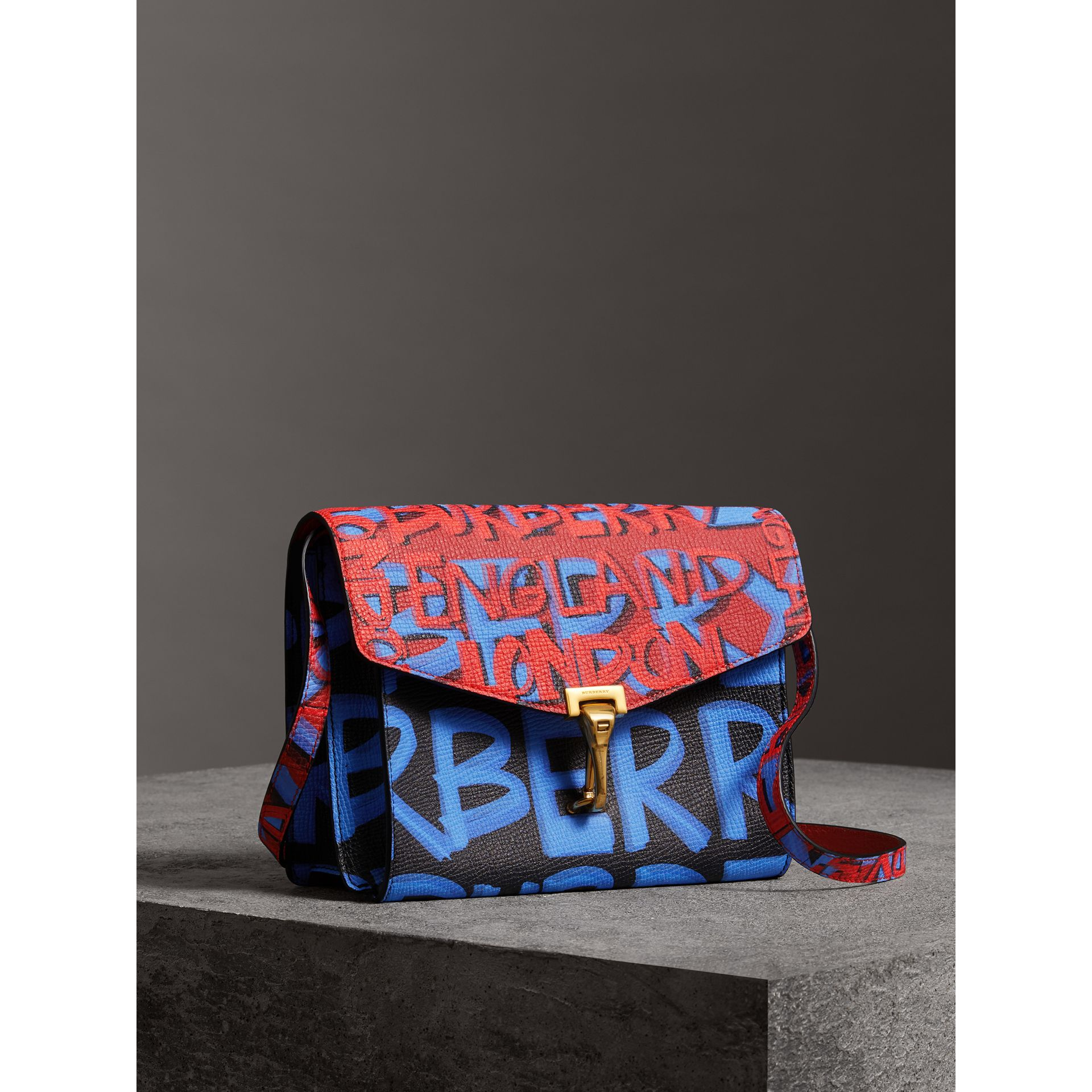 Small Graffiti Print Leather Crossbody Bag in Black - Women | Burberry - gallery image 6
