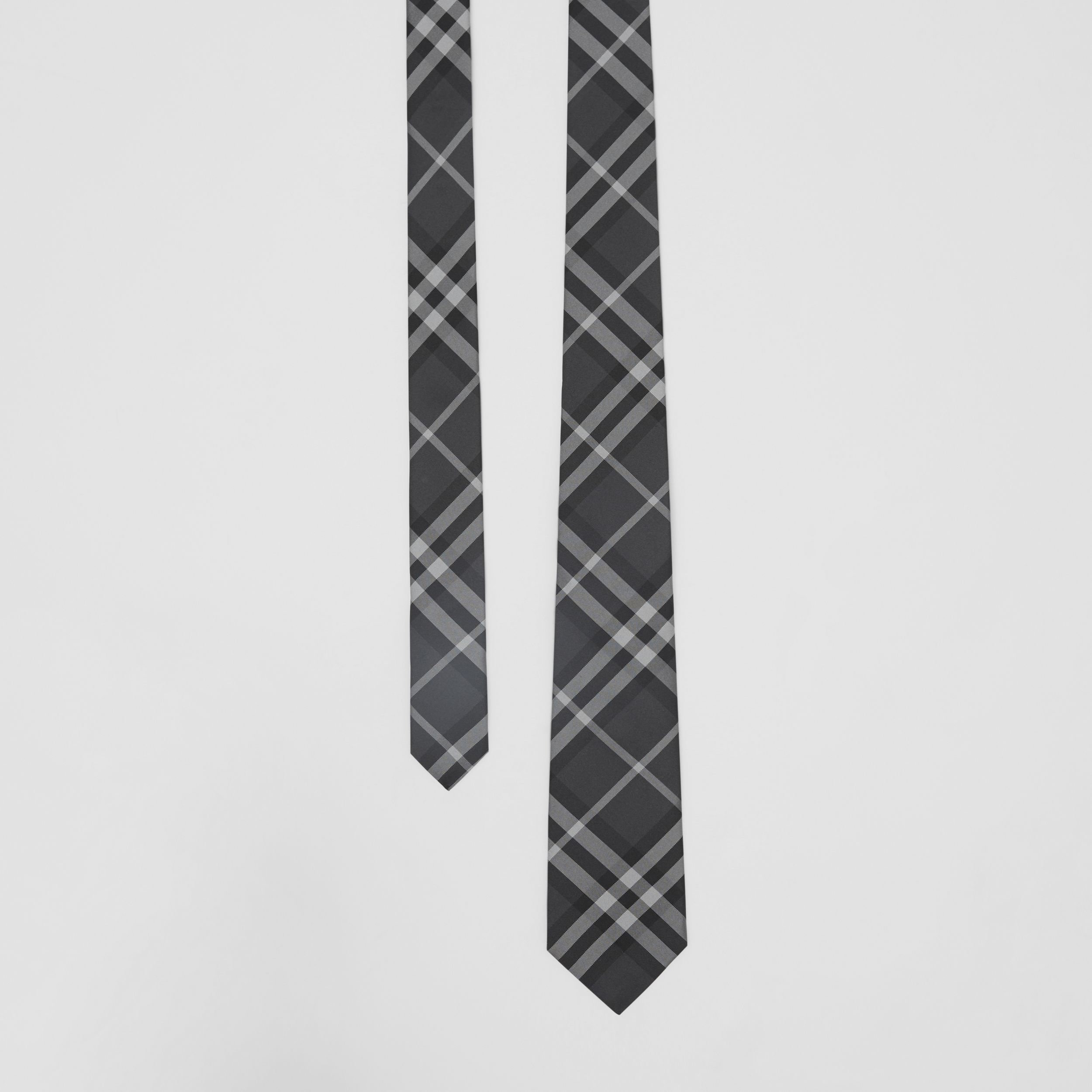Classic Cut Vintage Check Silk Tie in Charcoal - Men | Burberry United States - 1