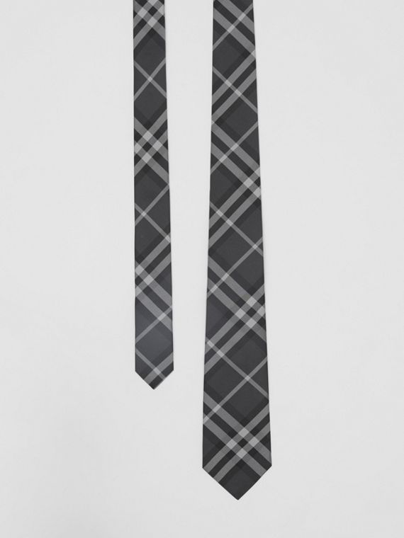 Classic Cut Vintage Check Silk Tie in Charcoal