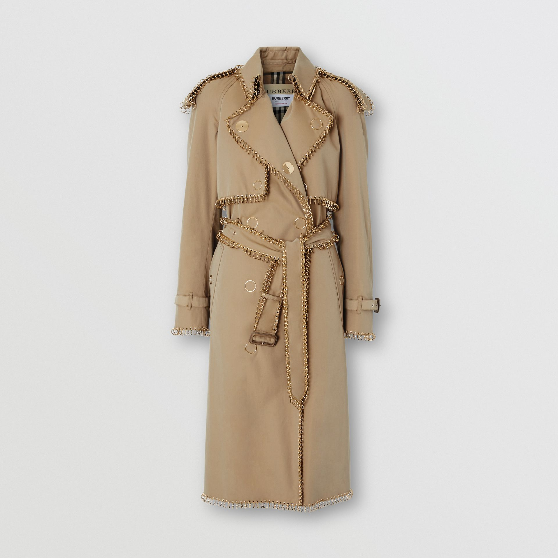 Ring-pierced Cotton Gabardine Trench Coat in Pale Honey - Women | Burberry - gallery image 3