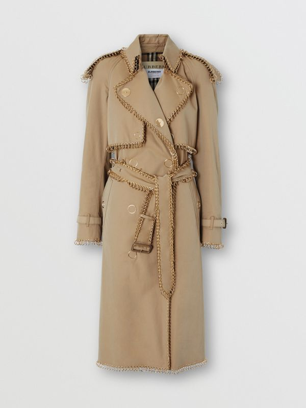Ring-pierced Cotton Gabardine Trench Coat in Pale Honey - Women | Burberry United Kingdom - cell image 3