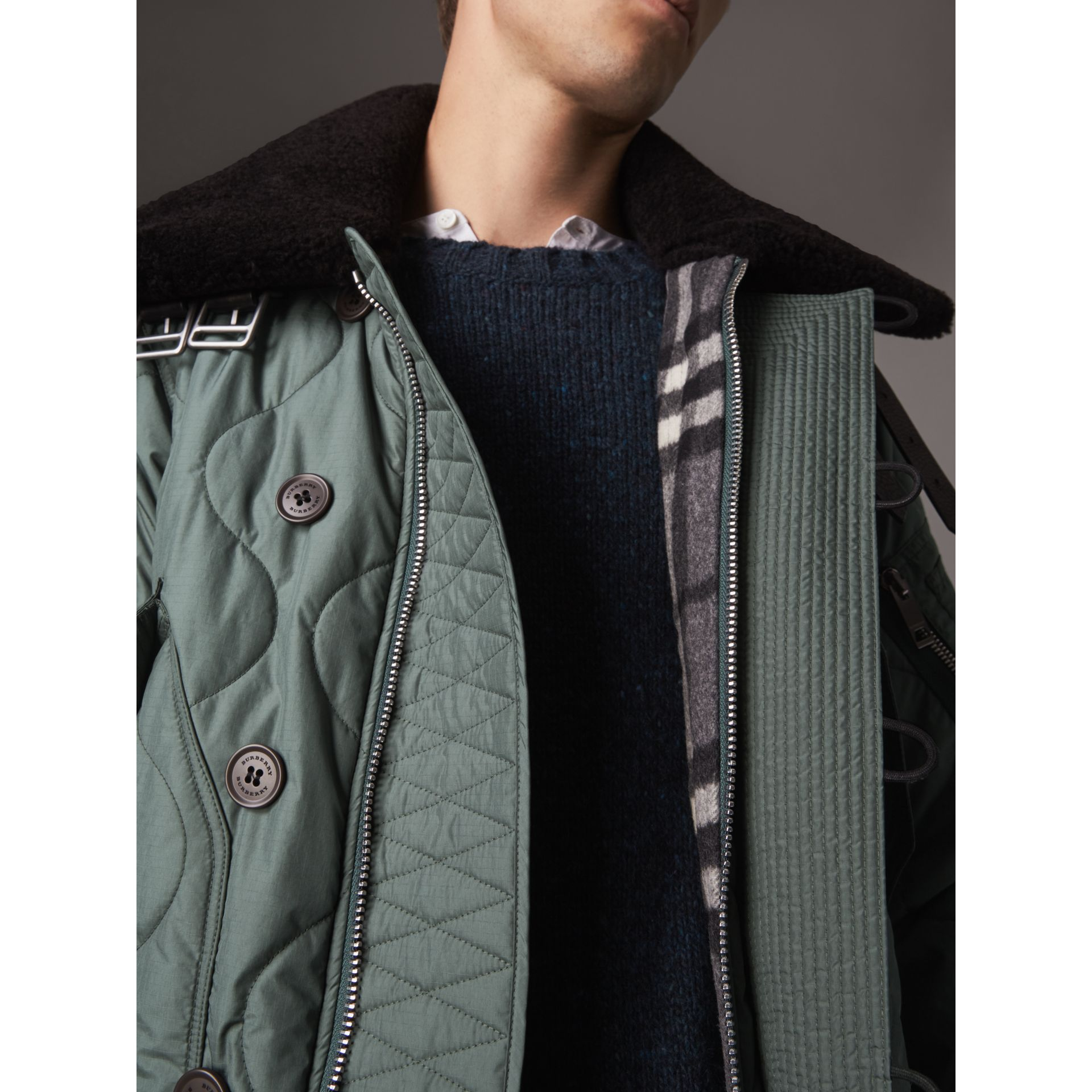 Shearling Collar Quilted Bomber Jacket in Smokey Green - Men | Burberry - gallery image 4