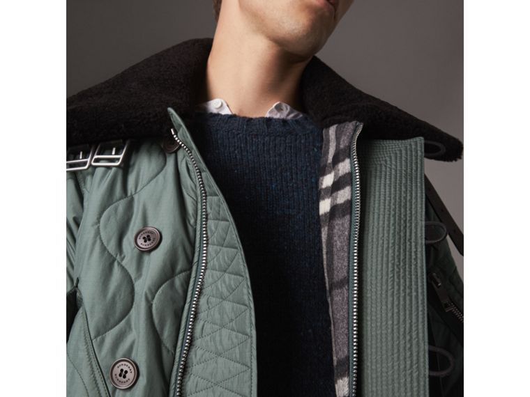 Shearling Collar Quilted Bomber Jacket in Smokey Green - Men | Burberry - cell image 4
