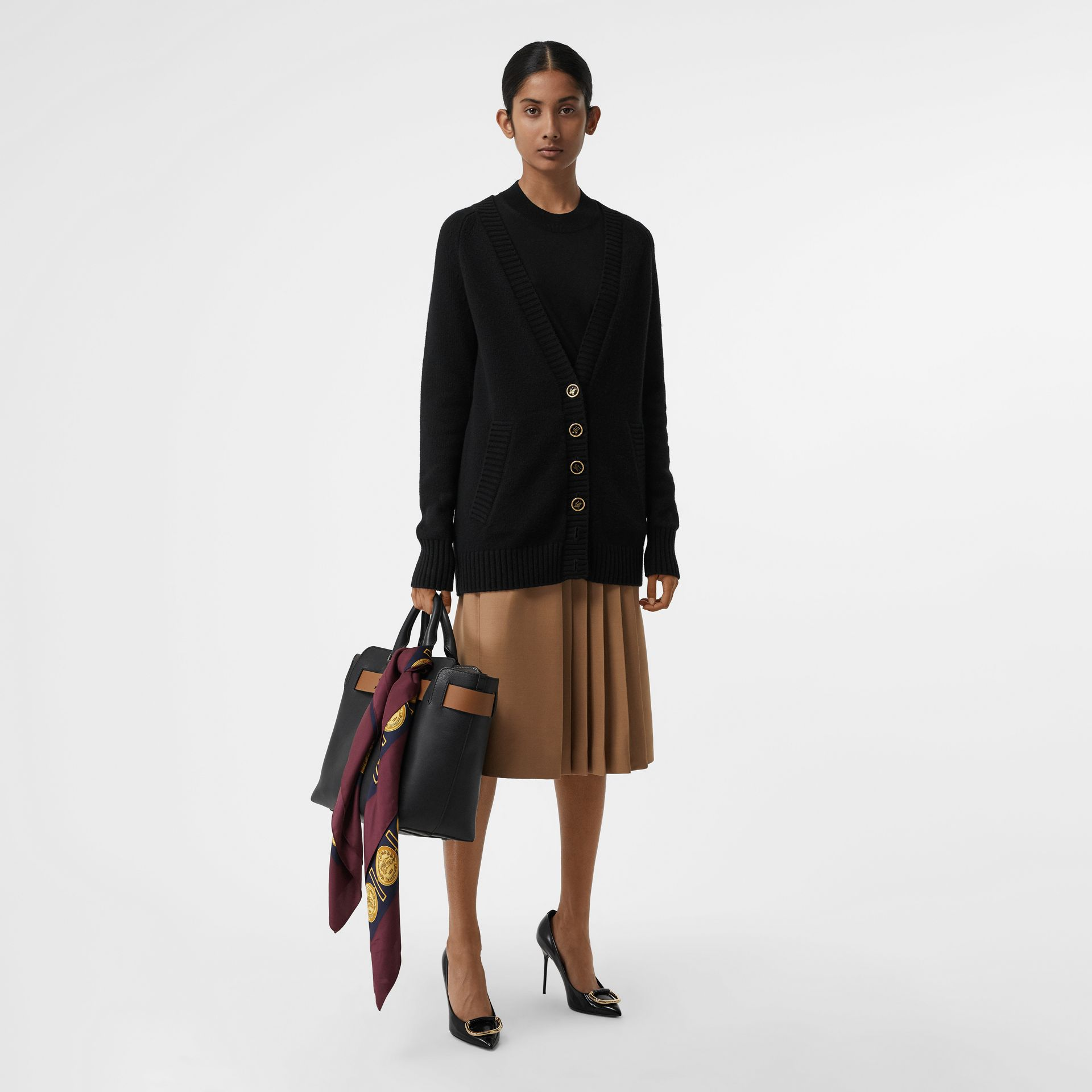 Logo Button Cashmere Cardigan in Black - Women | Burberry Singapore - gallery image 0