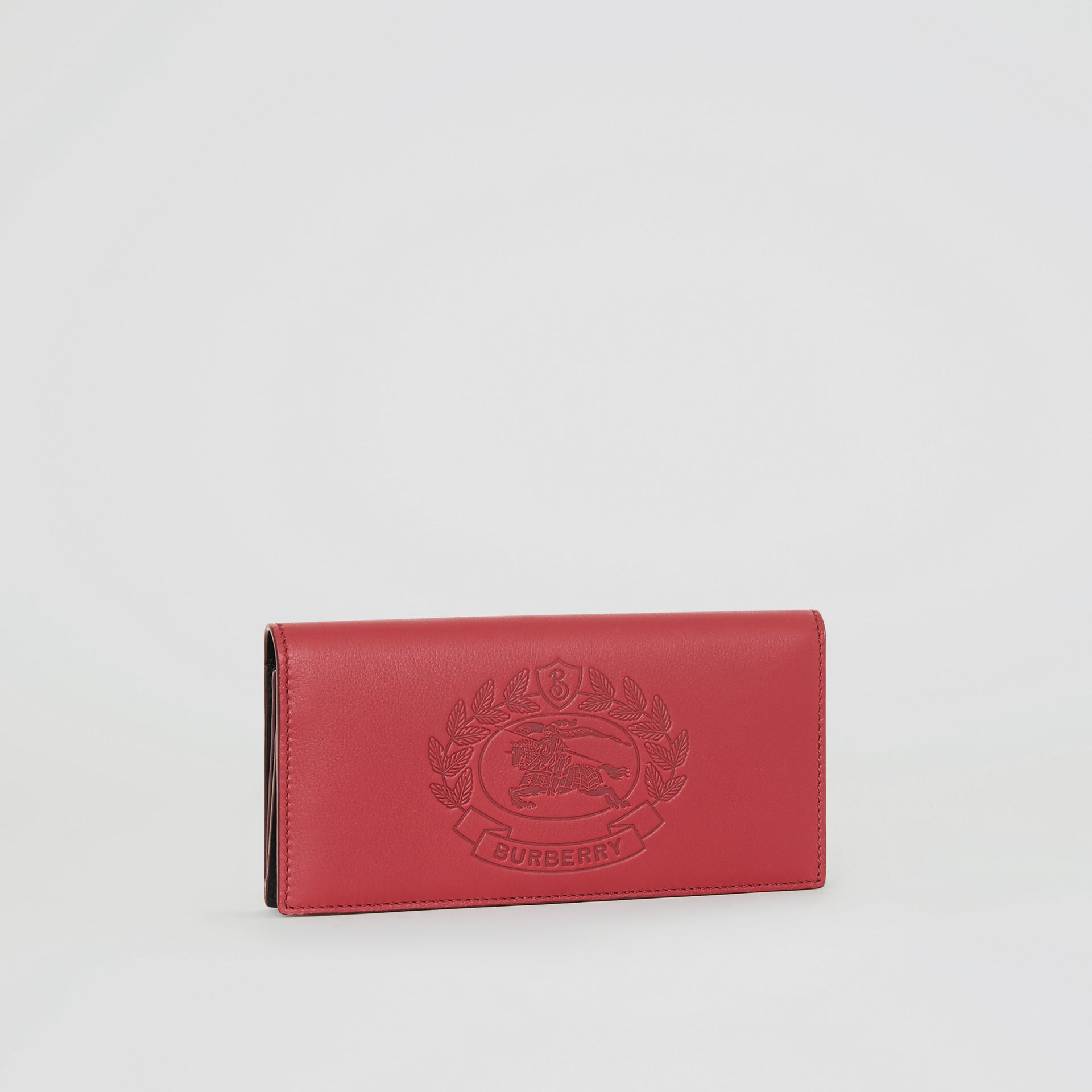 Embossed Crest Leather Continental Wallet in Crimson - Men | Burberry United Kingdom - gallery image 4