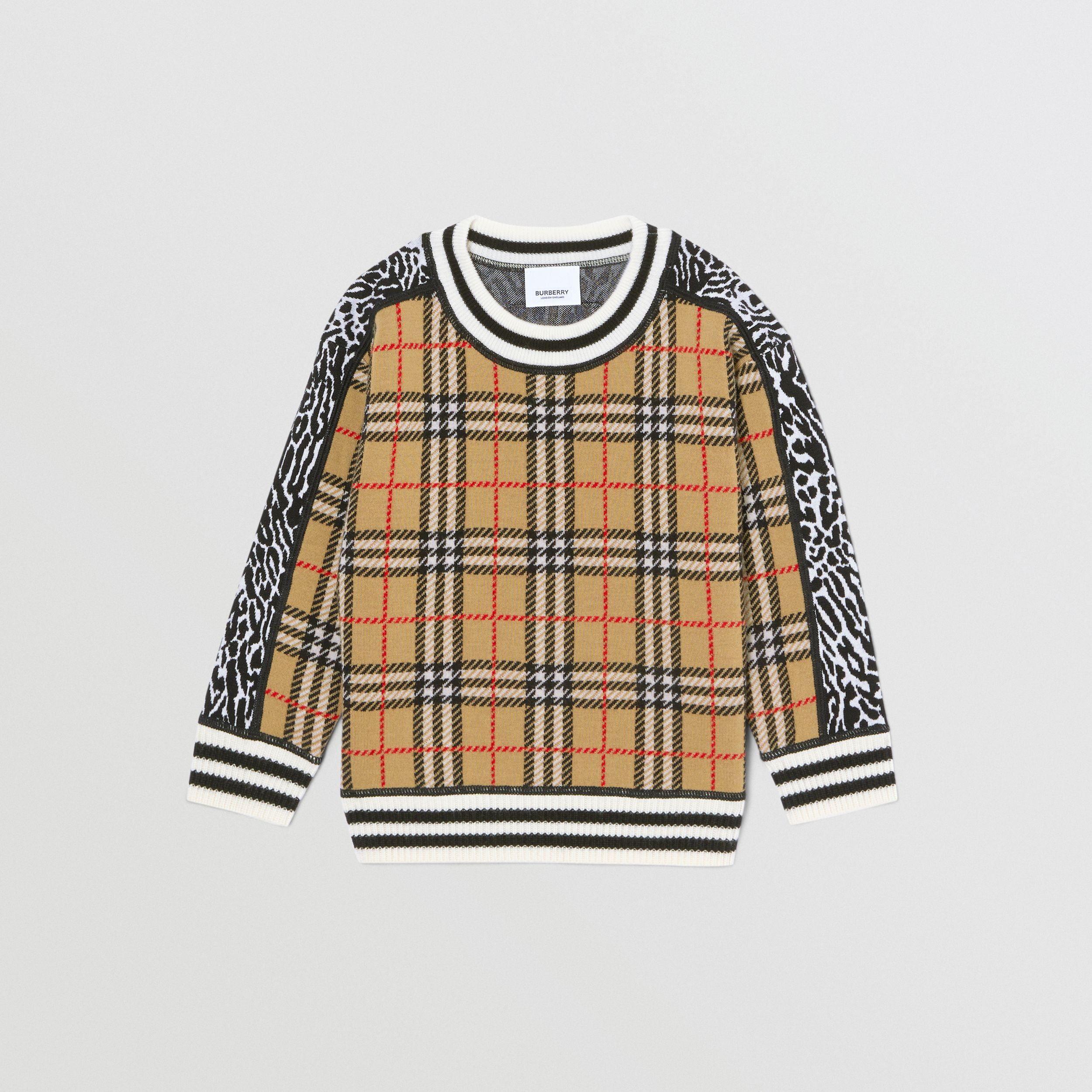 Check and Leopard Merino Wool Jacquard Sweater in Print | Burberry - 1