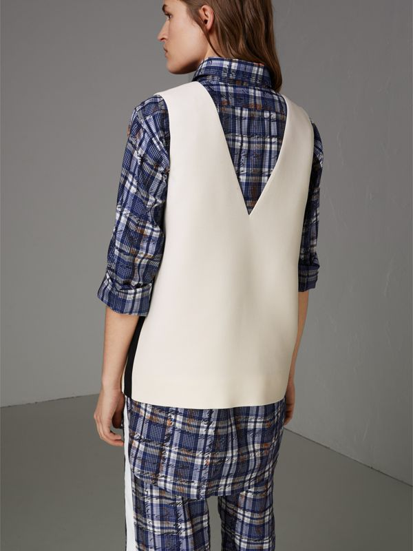 Satin Stripe Wool Silk Sleeveless Top in Off White - Women | Burberry Australia - cell image 2