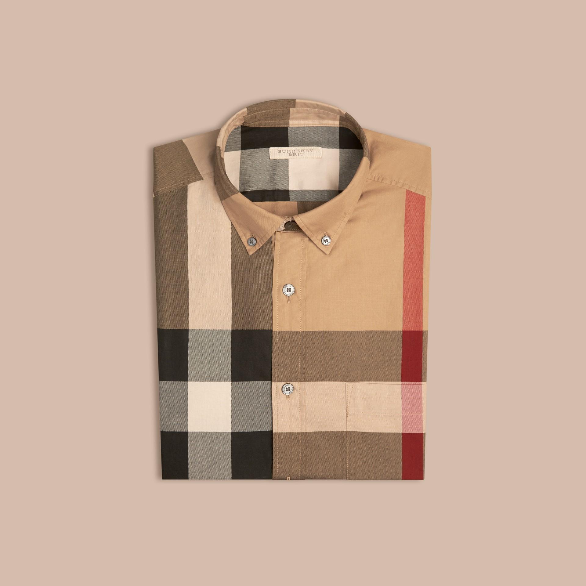 Camelfarben Baumwollhemd mit Check-Muster Camelfarben - Galerie-Bild 4
