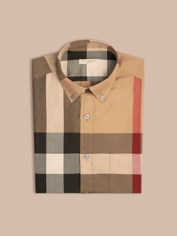Camel Check Cotton Shirt Camel - cell image 3