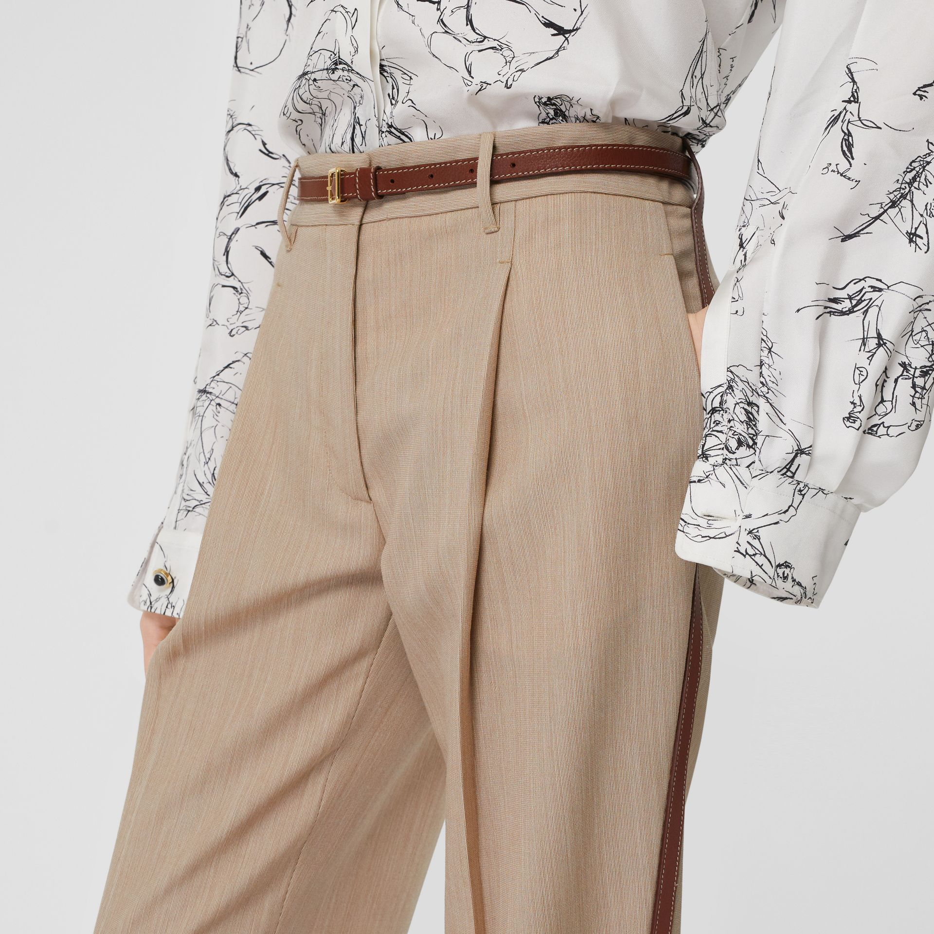 Leather Stripe Wool Tailored Trousers in Camel Melange - Women | Burberry - gallery image 5