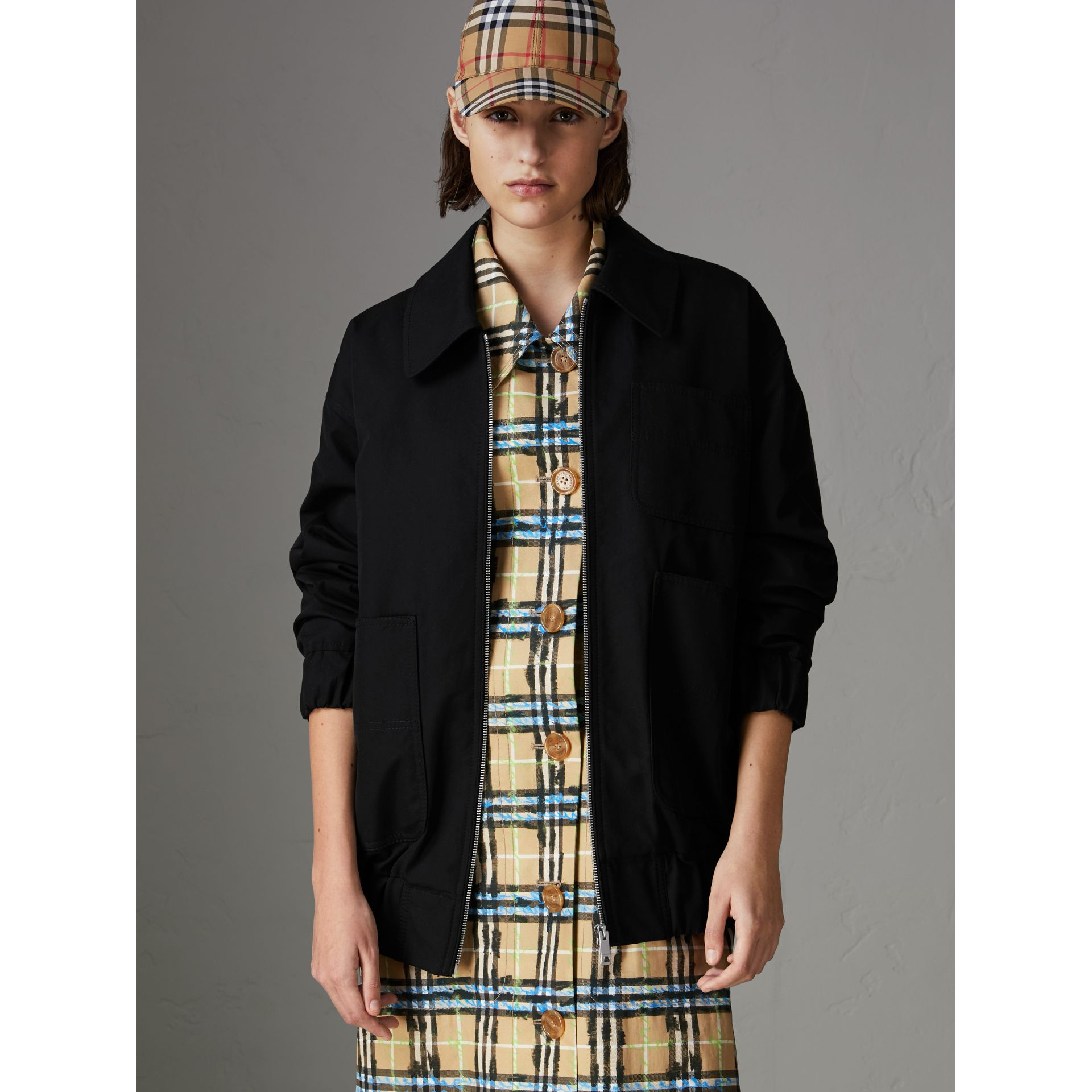 Tropical Gabardine Harrington Jacket in Black - Women | Burberry Canada - gallery image 4