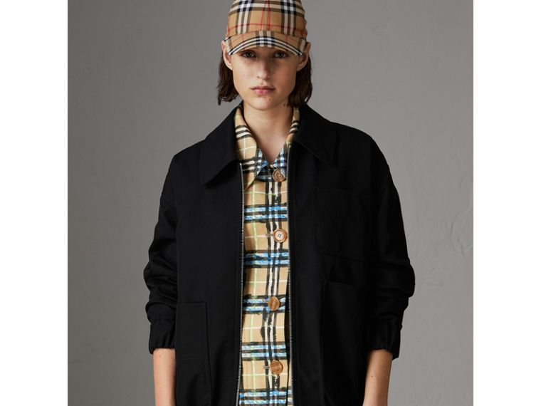 Tropical Gabardine Harrington Jacket in Black - Women | Burberry - cell image 4