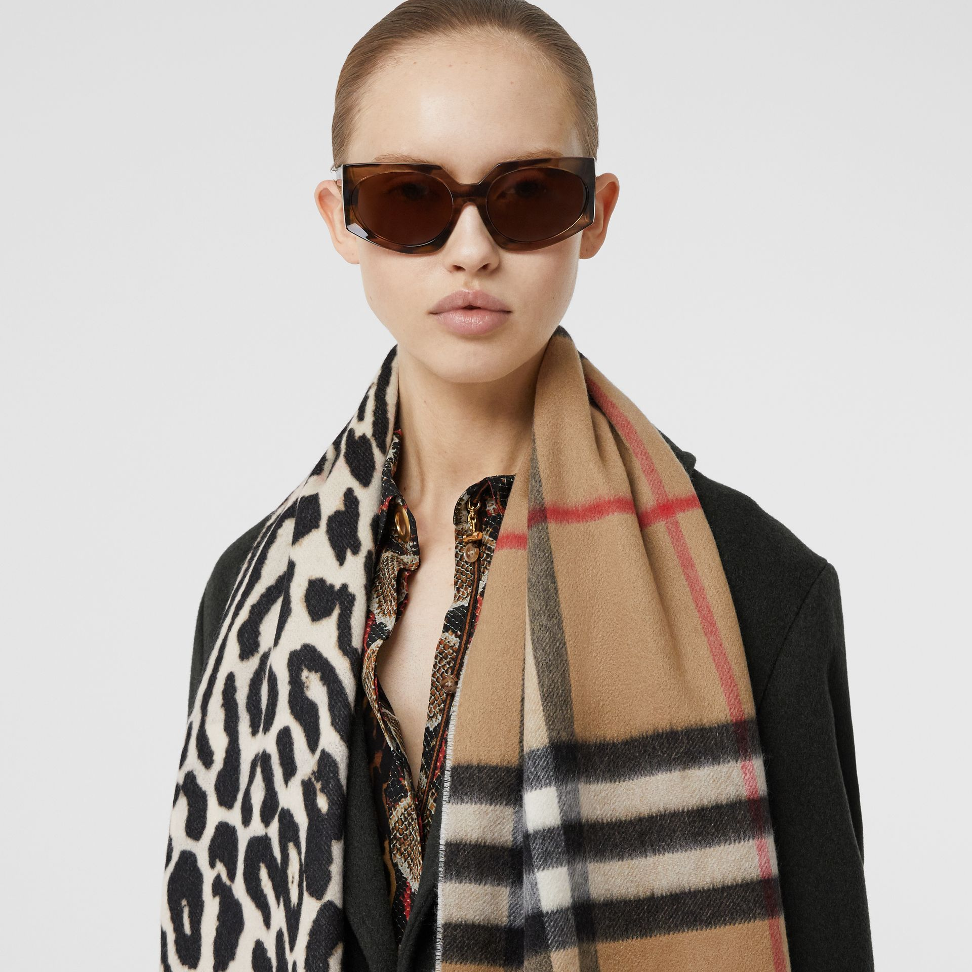 Leopard Print and Check Cashmere Scarf in Black | Burberry United Kingdom - gallery image 2