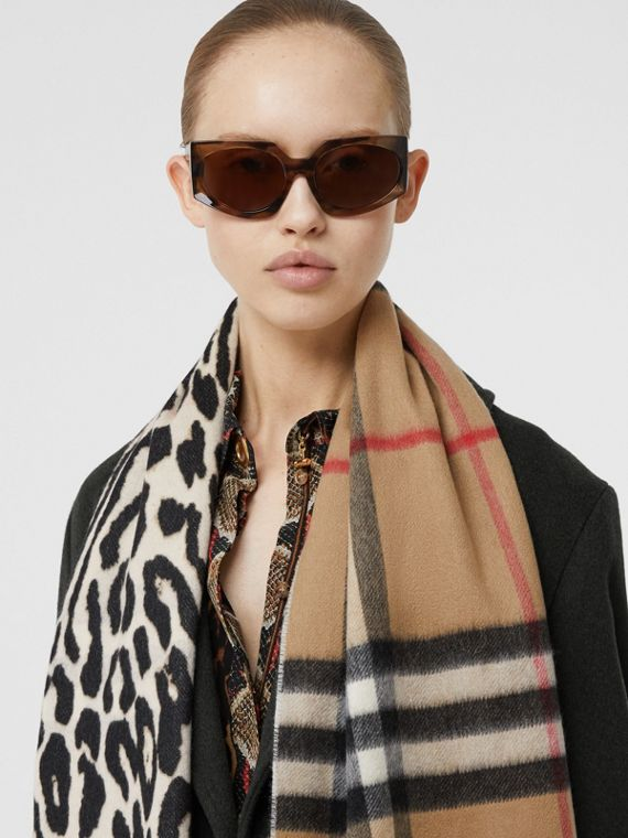 Leopard Print and Check Cashmere Scarf in Black
