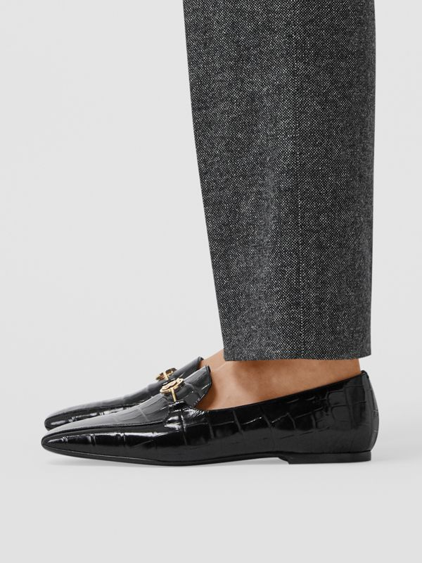 Monogram Motif Embossed Leather Loafers in Black - Women | Burberry - cell image 2