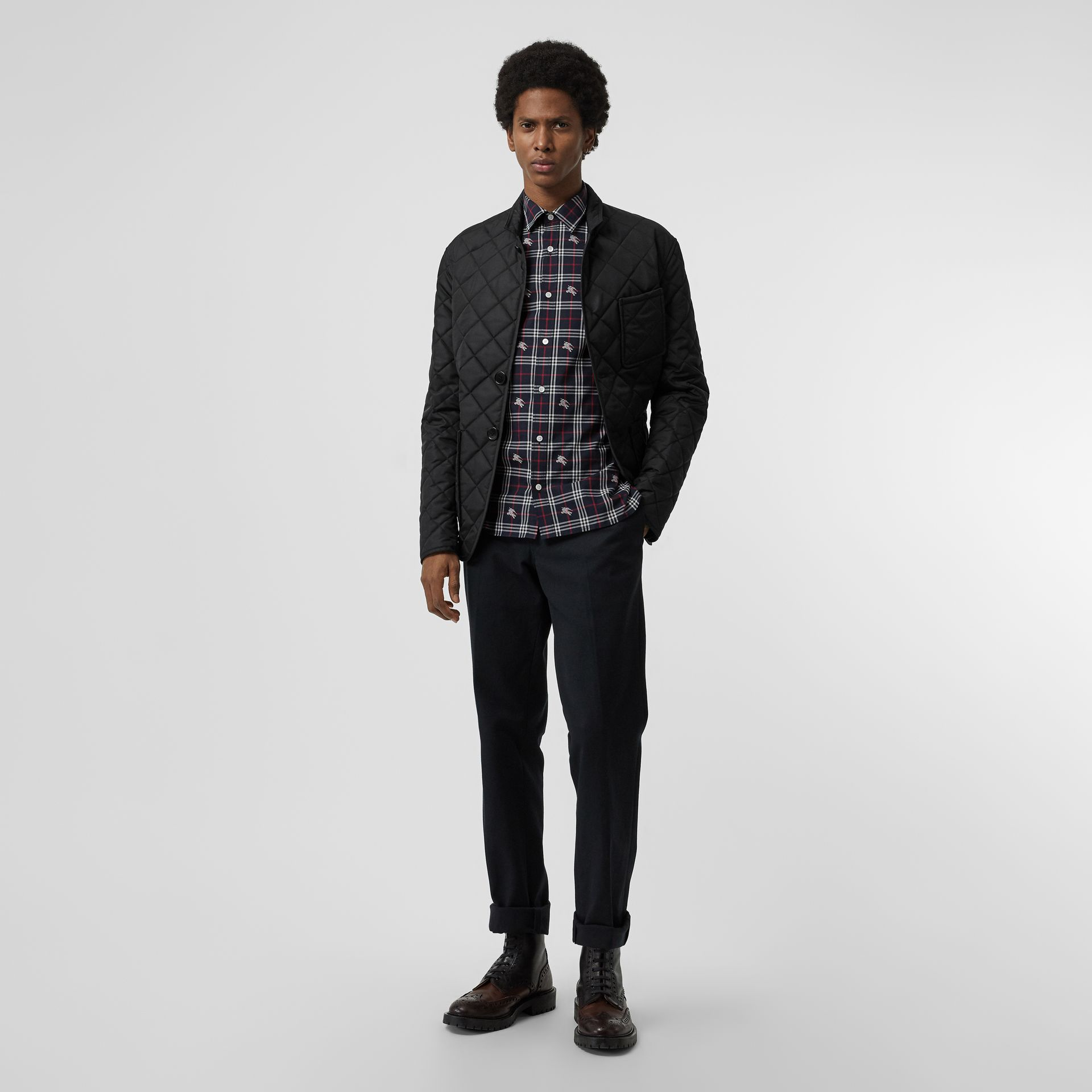 Equestrian Knight Check Cotton Shirt in Dark Navy - Men | Burberry - gallery image 4