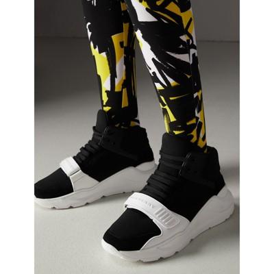 Sneakers Neoprene Top WomenBurberry Suede In Black High And 3j4LRA5