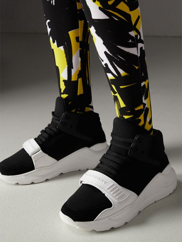 Suede and Neoprene High-top Sneakers in Black - Women | Burberry - cell image 2
