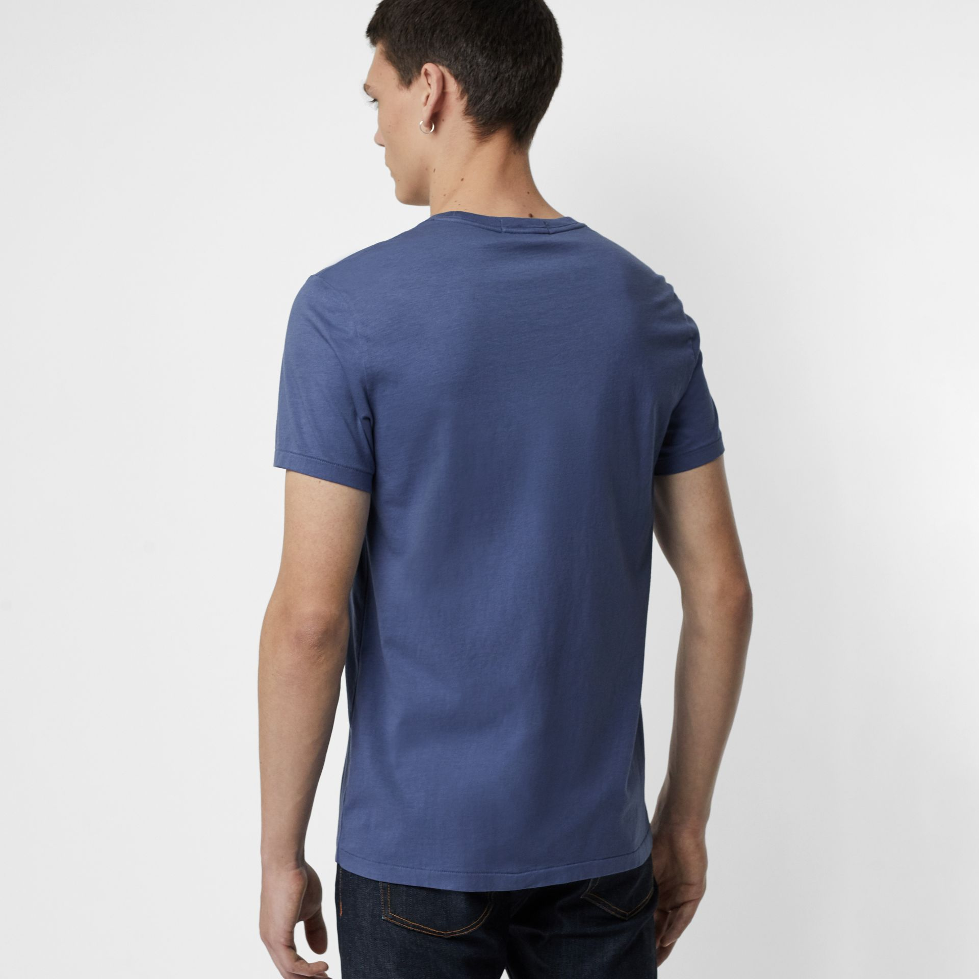 Cotton T-shirt in Pebble Blue - Men | Burberry - gallery image 2