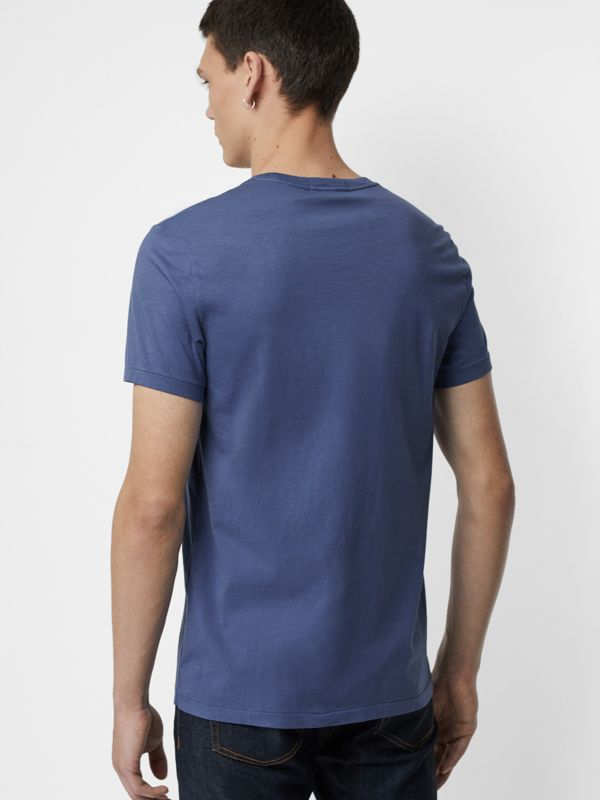 Cotton T-shirt in Pebble Blue - Men | Burberry - cell image 2