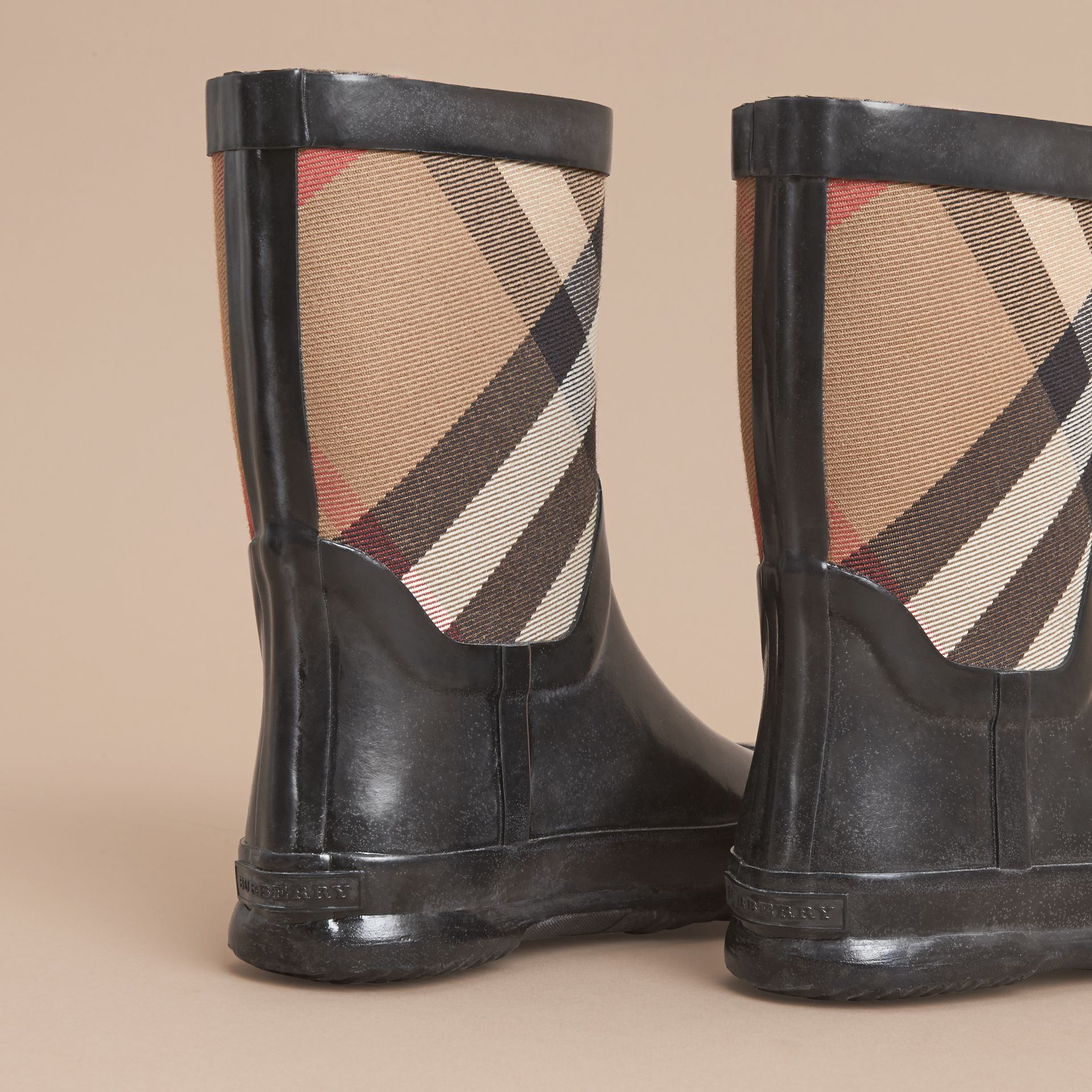 House Check Panel Rain Boots | Burberry Canada - gallery image 4