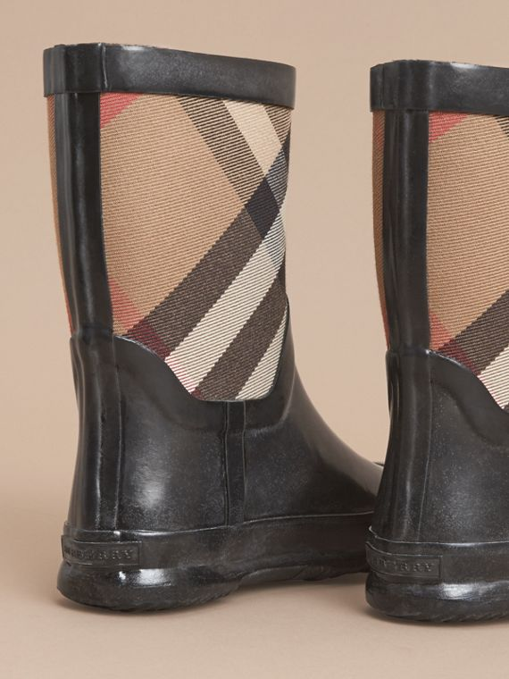 House Check Panel Rain Boots in Black | Burberry Hong Kong - cell image 3