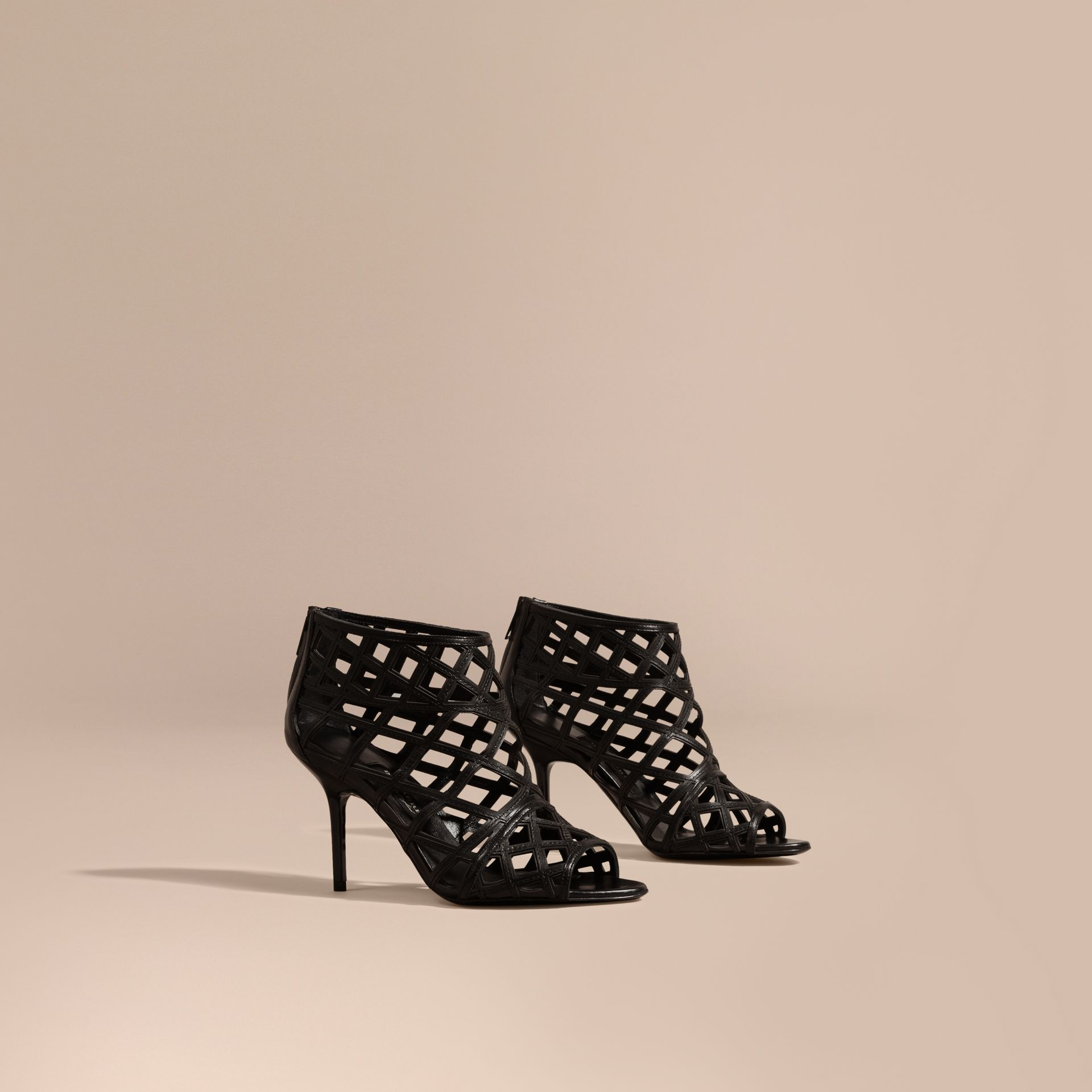 Black Cut-out Leather Ankle Boots Black - gallery image 1