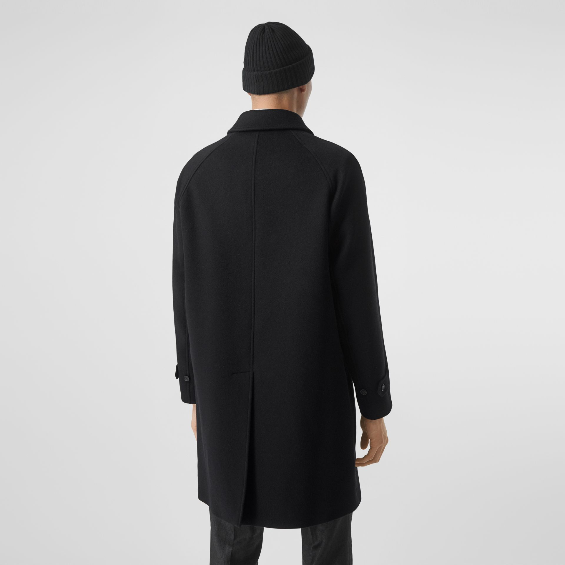 Logo Wool Cashmere Jacquard Car Coat in Black - Men | Burberry - gallery image 2