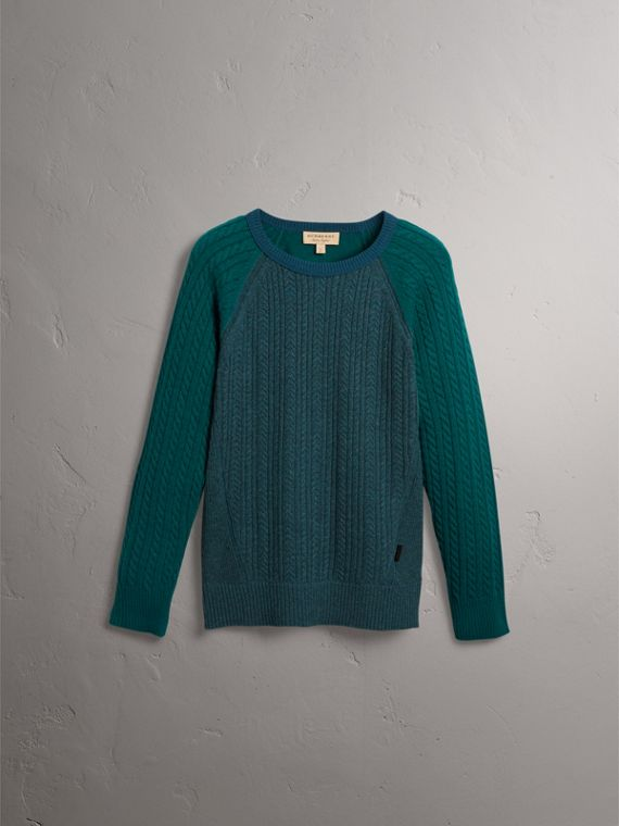 Two-tone Cable Knit Cashmere Sweater in Dark Teal - Men | Burberry Singapore - cell image 3