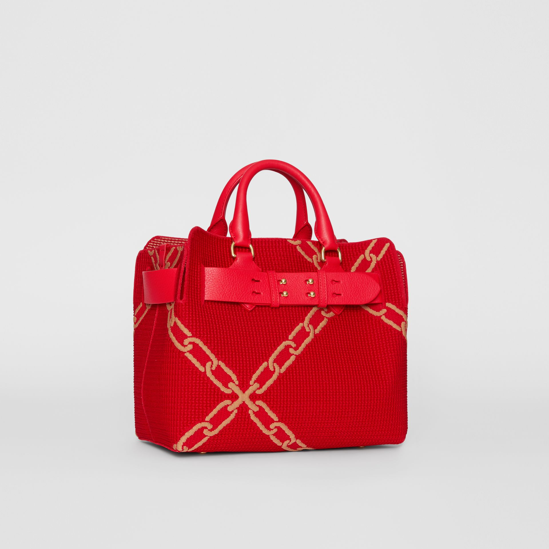 The Small Belt Bag mit Kettenmuster in Strickoptik (Leuchtendes Rot/helles Camelfarben) - Damen | Burberry - Galerie-Bild 4