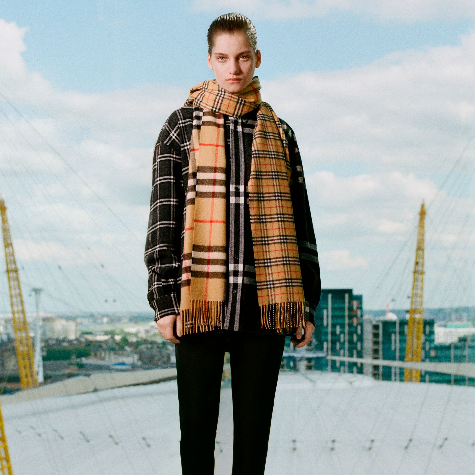 Gosha x Burberry Check Flannel Shirt in Charcoal | Burberry United States - gallery image 1