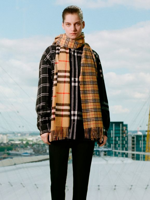 Gosha x Burberry Check Flannel Shirt in Charcoal | Burberry United States - cell image 1