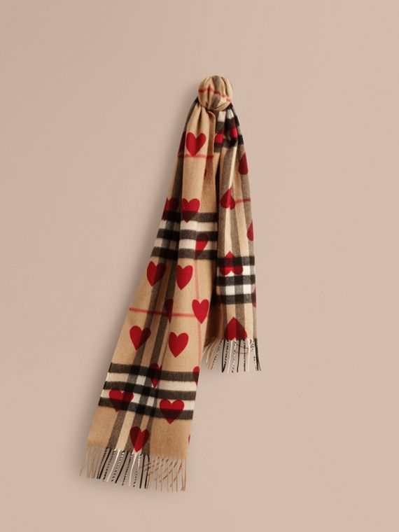 The Classic Cashmere Scarf in Check and Hearts