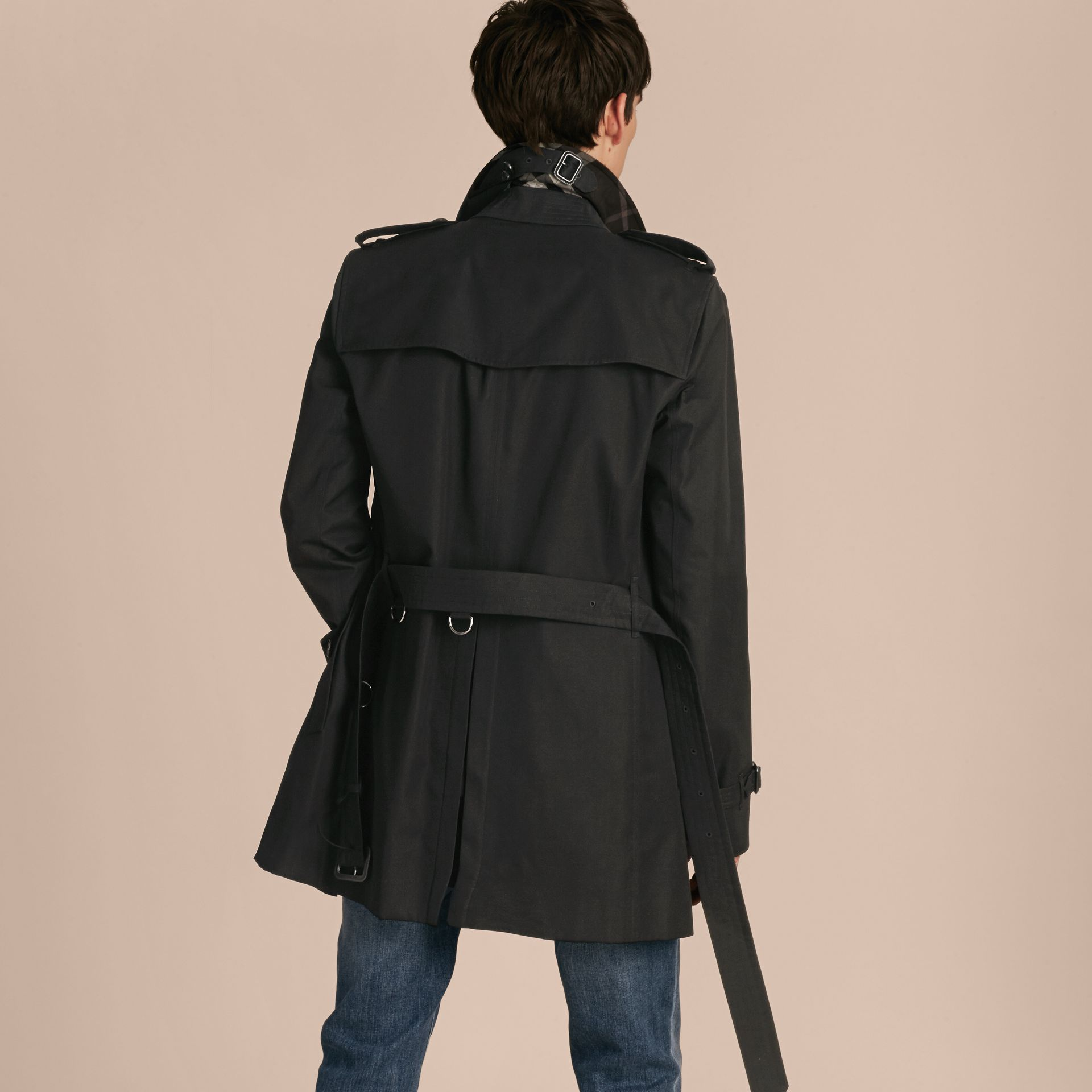 Black Cotton Gabardine Trench Coat - gallery image 3