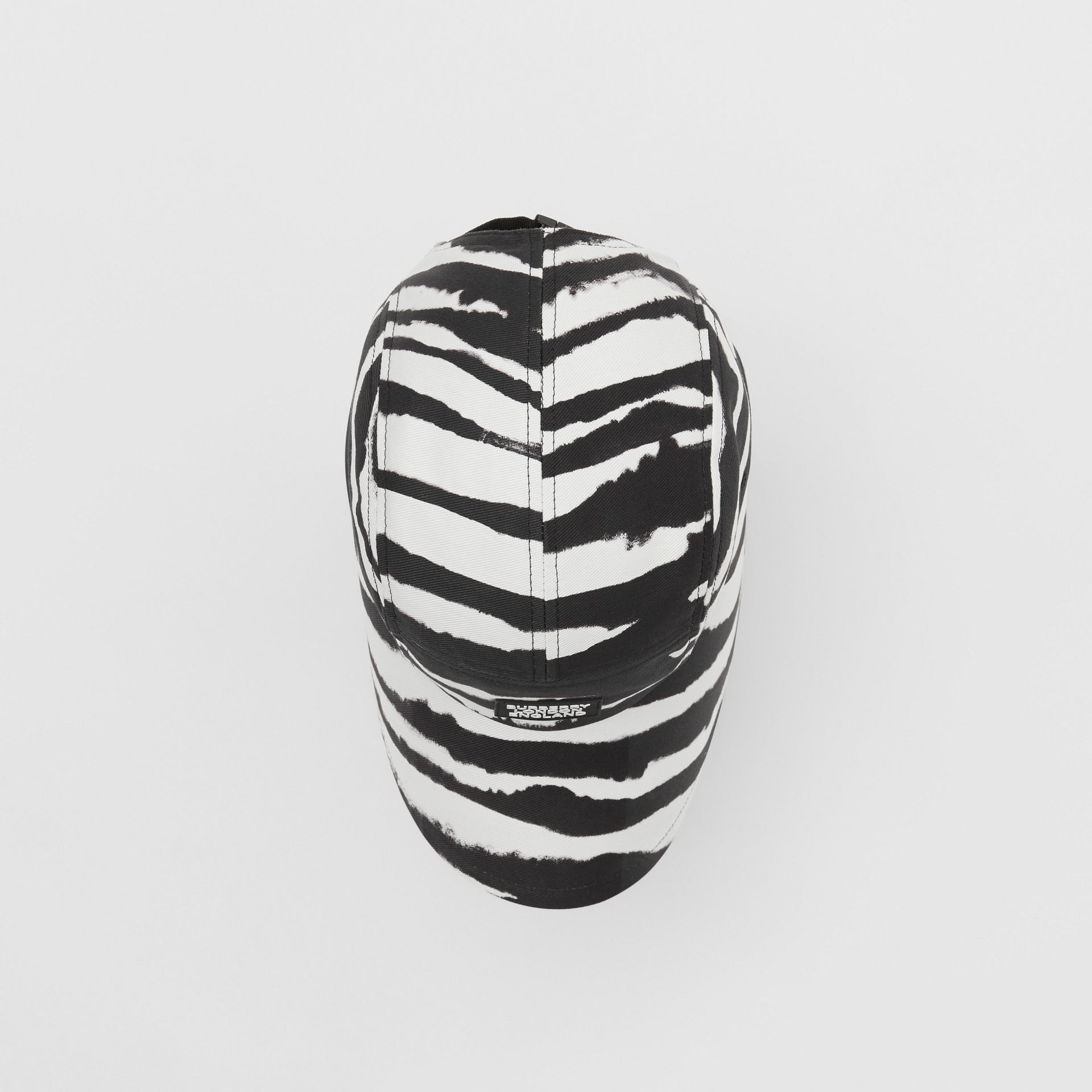 Watercolour Print Cotton Bonnet Cap in Black/white | Burberry United States - gallery image 4