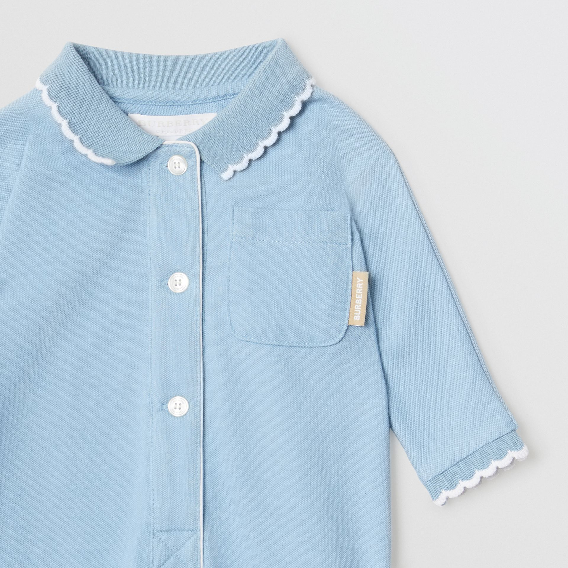 Logo Print Stretch Cotton Jumpsuit in Powder Blue - Children | Burberry - gallery image 4